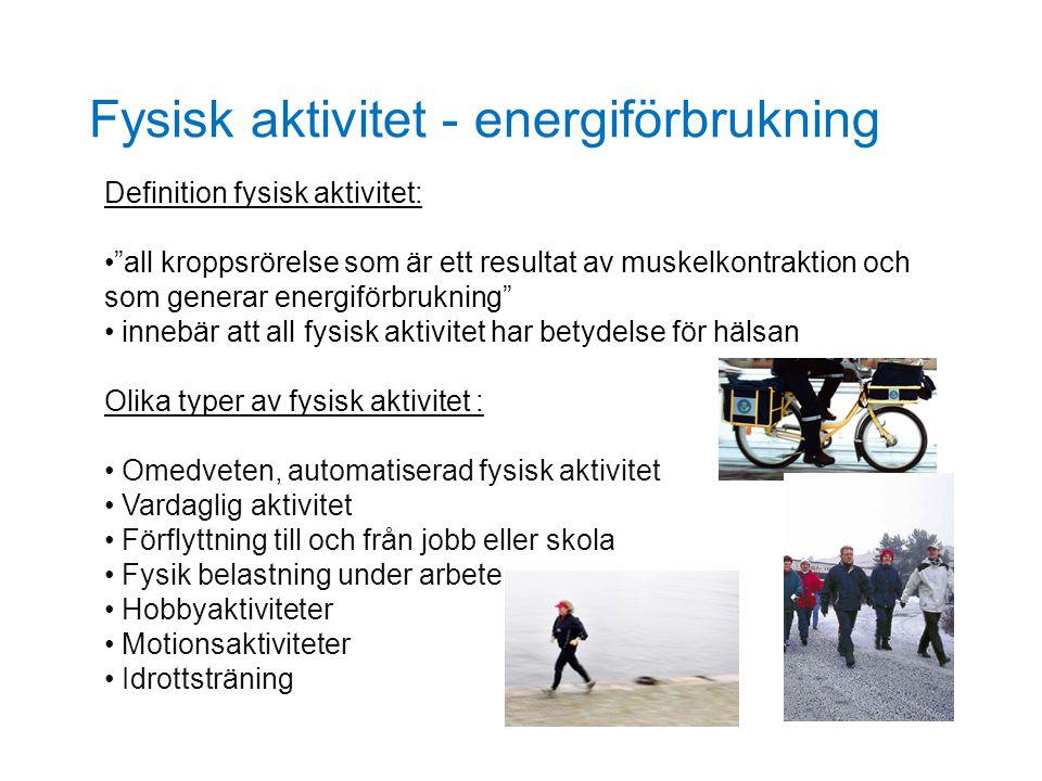 """Fysisk aktivitet - energiförbrukning Definition fysisk aktivitet: """"all kroppsrörelse som är ett resultat av muskelkontraktion och som generar energifö"""