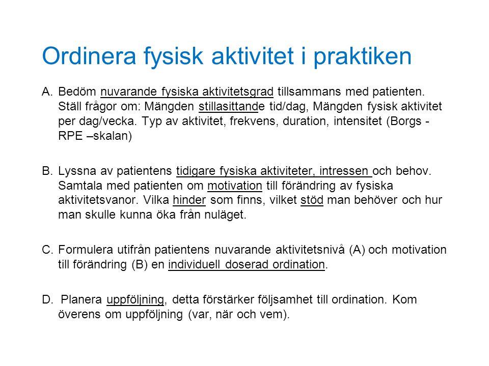 Ordinera fysisk aktivitet i praktiken A.Bedöm nuvarande fysiska aktivitetsgrad tillsammans med patienten. Ställ frågor om: Mängden stillasittande tid/