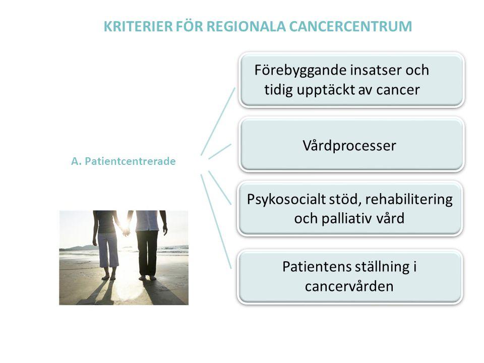 KRITERIER FÖR REGIONALA CANCERCENTRUM A. Patientcentrerade Förebyggande insatser och tidig upptäckt av cancer Vårdprocesser Psykosocialt stöd, rehabil