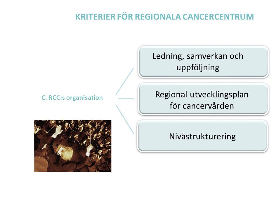 KRITERIER FÖR REGIONALA CANCERCENTRUM C. RCC:s organisation Ledning, samverkan och uppföljning Regional utvecklingsplan för cancervården Nivåstrukture