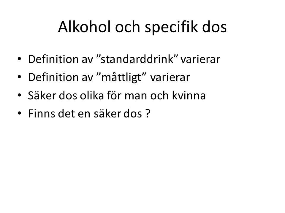 Alkohol och specifik dos Definition av standarddrink varierar Definition av måttligt varierar Säker dos olika för man och kvinna Finns det en säker dos ?
