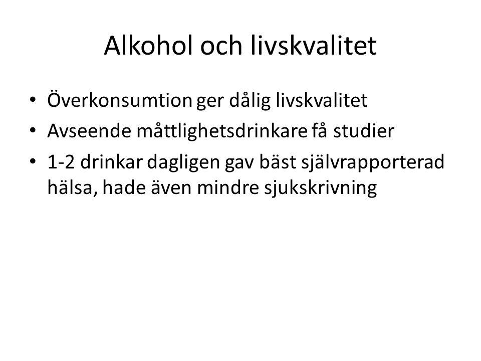Alkohol och livskvalitet Överkonsumtion ger dålig livskvalitet Avseende måttlighetsdrinkare få studier 1-2 drinkar dagligen gav bäst självrapporterad hälsa, hade även mindre sjukskrivning