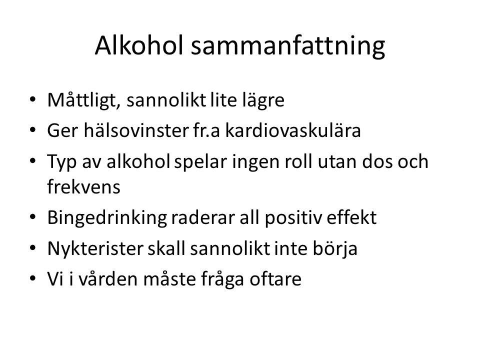 Alkohol sammanfattning Måttligt, sannolikt lite lägre Ger hälsovinster fr.a kardiovaskulära Typ av alkohol spelar ingen roll utan dos och frekvens Bingedrinking raderar all positiv effekt Nykterister skall sannolikt inte börja Vi i vården måste fråga oftare