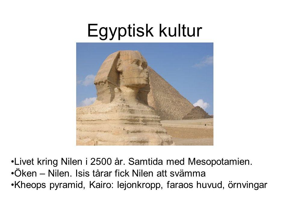 Egyptisk kultur Livet kring Nilen i 2500 år.Samtida med Mesopotamien.