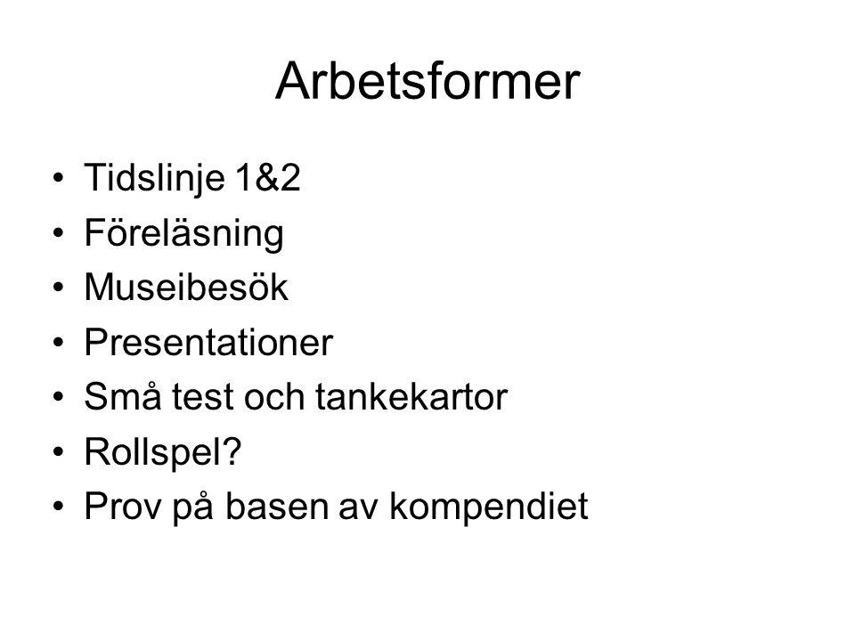 Arbetsformer Tidslinje 1&2 Föreläsning Museibesök Presentationer Små test och tankekartor Rollspel.