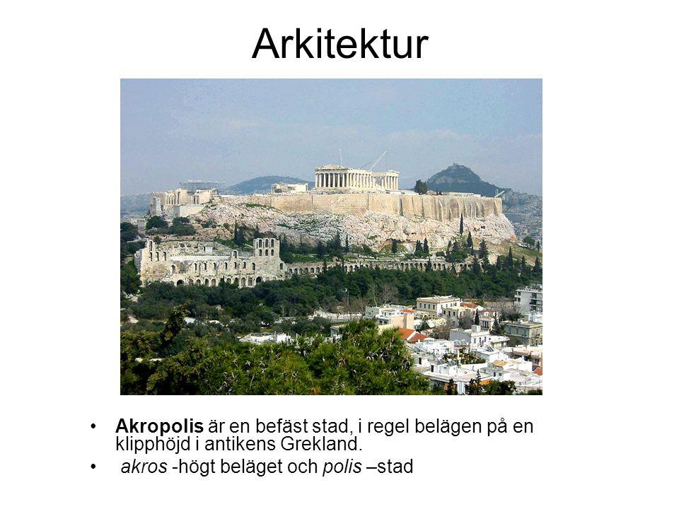 Arkitektur Akropolis är en befäst stad, i regel belägen på en klipphöjd i antikens Grekland.