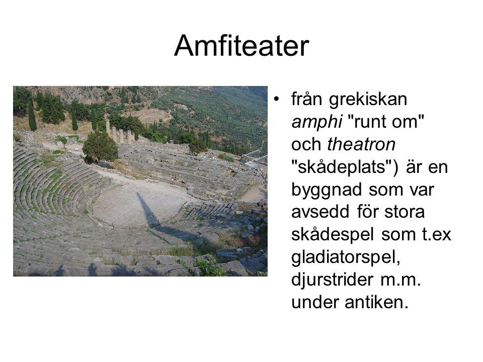 Amfiteater från grekiskan amphi runt om och theatron skådeplats ) är en byggnad som var avsedd för stora skådespel som t.ex gladiatorspel, djurstrider m.m.