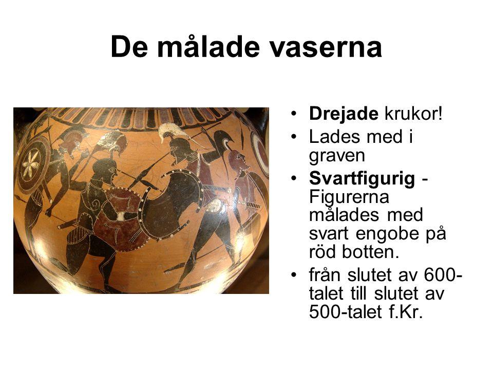 De målade vaserna Drejade krukor.
