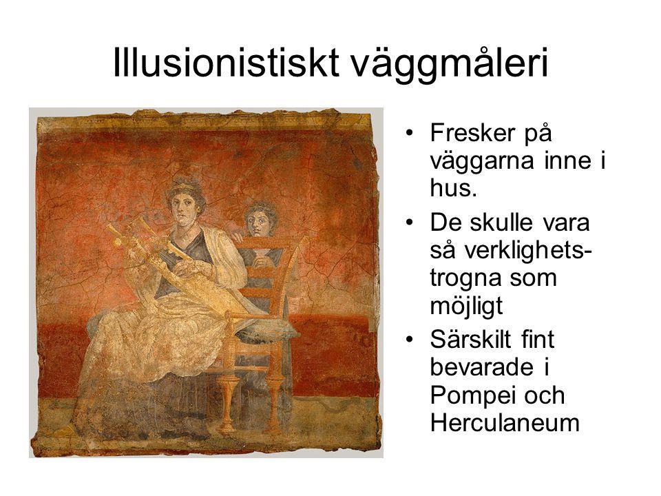 Illusionistiskt väggmåleri Fresker på väggarna inne i hus.