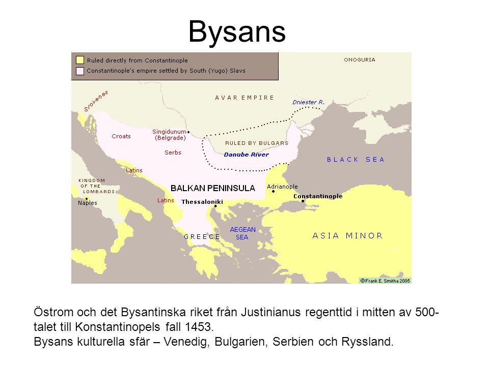 Bysans Östrom och det Bysantinska riket från Justinianus regenttid i mitten av 500- talet till Konstantinopels fall 1453.