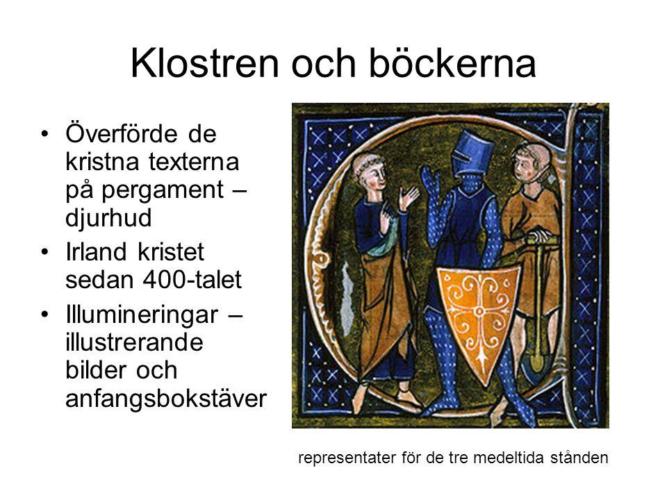 Klostren och böckerna Överförde de kristna texterna på pergament – djurhud Irland kristet sedan 400-talet Illumineringar – illustrerande bilder och anfangsbokstäver representater för de tre medeltida stånden