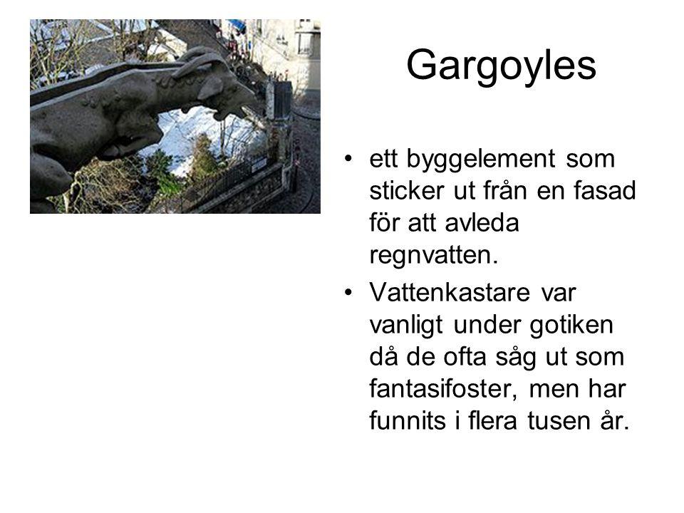 Gargoyles ett byggelement som sticker ut från en fasad för att avleda regnvatten.