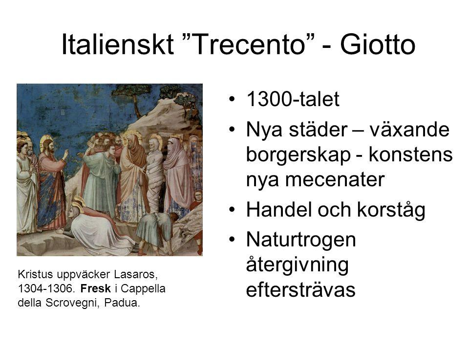 Italienskt Trecento - Giotto 1300-talet Nya städer – växande borgerskap - konstens nya mecenater Handel och korståg Naturtrogen återgivning eftersträvas Kristus uppväcker Lasaros, 1304-1306.