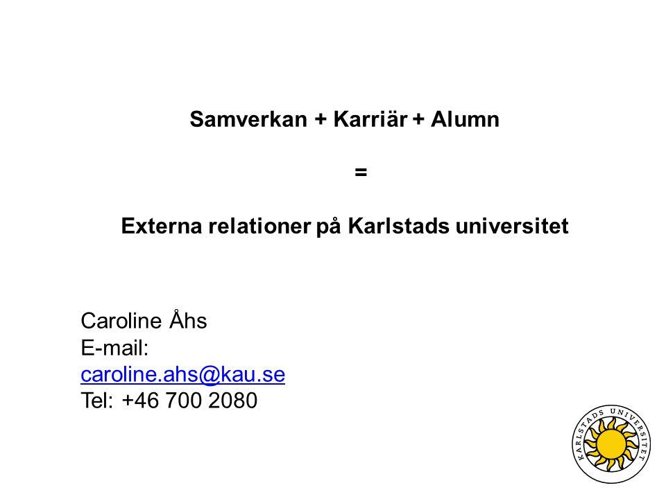 Caroline Åhs E-mail: caroline.ahs@kau.se caroline.ahs@kau.se Tel: +46 700 2080 Samverkan + Karriär + Alumn = Externa relationer på Karlstads universitet
