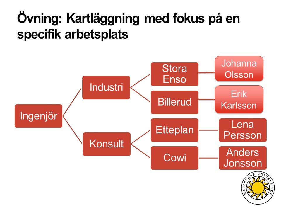 Övning: Kartläggning med fokus på en specifik arbetsplats IngenjörIndustri Stora Enso BillerudKonsultEtteplan Lena Persson Cowi Anders Jonsson Johanna Olsson Erik Karlsson