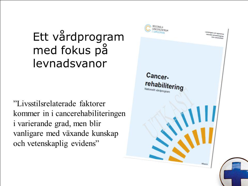 Ett vårdprogram med fokus på levnadsvanor Livsstilsrelaterade faktorer kommer in i cancerehabiliteringen i varierande grad, men blir vanligare med växande kunskap och vetenskaplig evidens