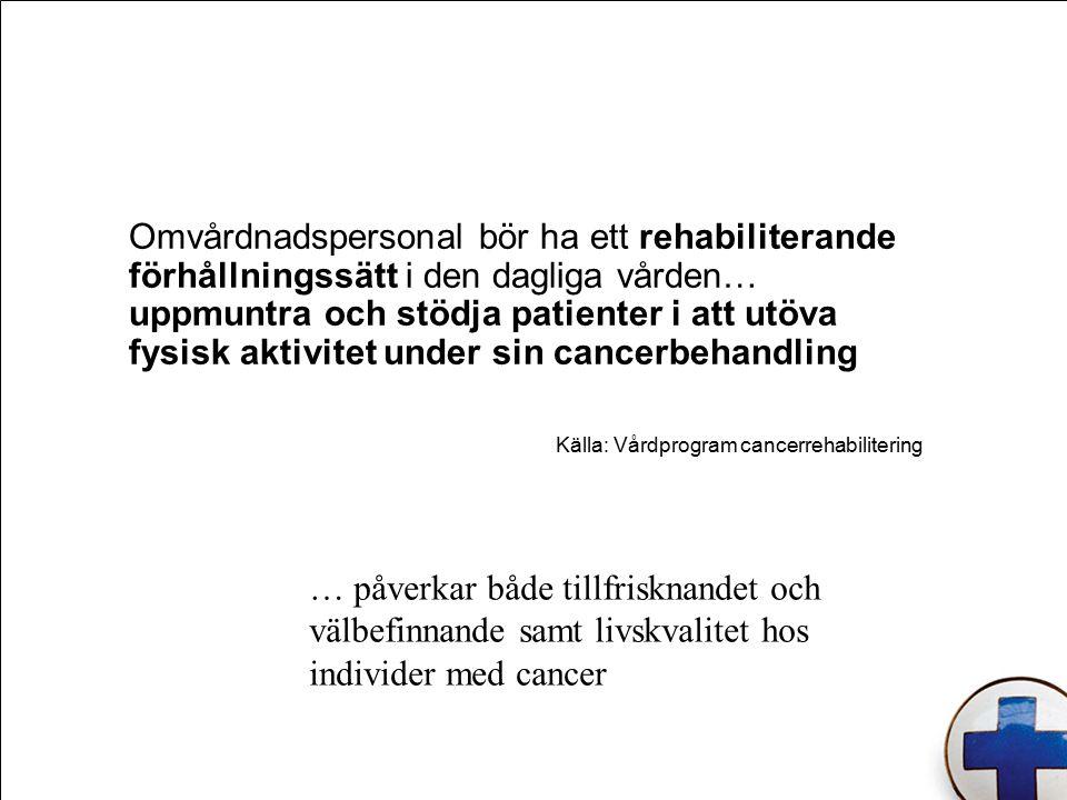 Omvårdnadspersonal bör ha ett rehabiliterande förhållningssätt i den dagliga vården… uppmuntra och stödja patienter i att utöva fysisk aktivitet under sin cancerbehandling Källa: Vårdprogram cancerrehabilitering … påverkar både tillfrisknandet och välbefinnande samt livskvalitet hos individer med cancer