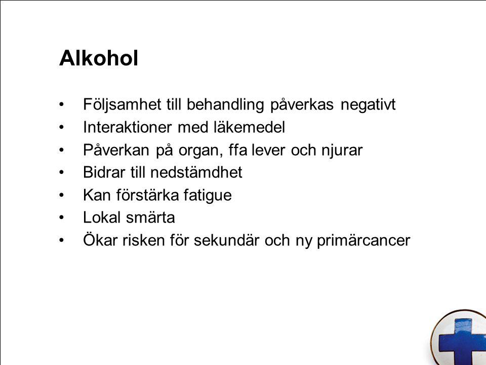 Följsamhet till behandling påverkas negativt Interaktioner med läkemedel Påverkan på organ, ffa lever och njurar Bidrar till nedstämdhet Kan förstärka fatigue Lokal smärta Ökar risken för sekundär och ny primärcancer Alkohol