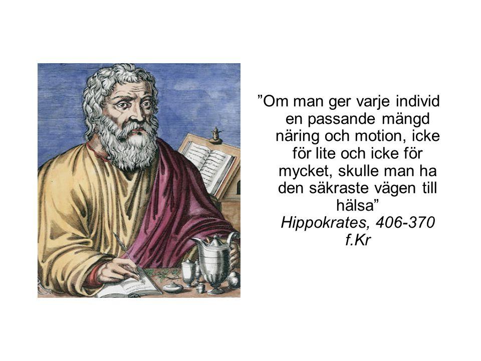 Om man ger varje individ en passande mängd näring och motion, icke för lite och icke för mycket, skulle man ha den säkraste vägen till hälsa Hippokrates, 406-370 f.Kr