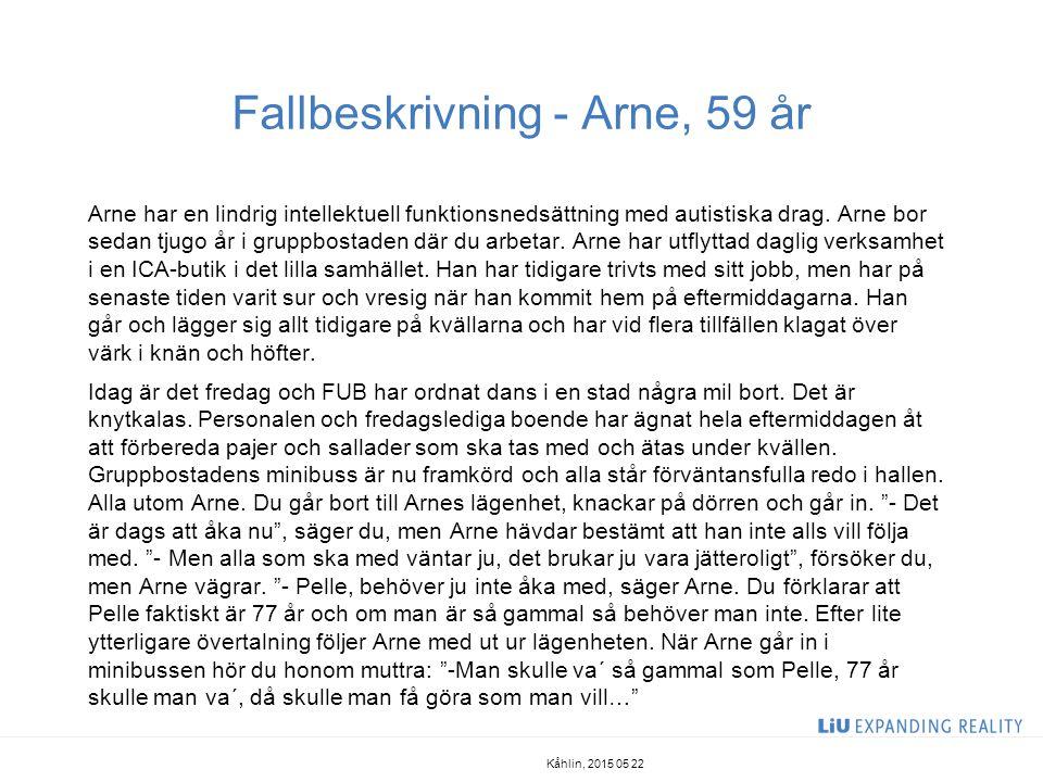 Fallbeskrivning - Arne, 59 år Arne har en lindrig intellektuell funktionsnedsättning med autistiska drag. Arne bor sedan tjugo år i gruppbostaden där