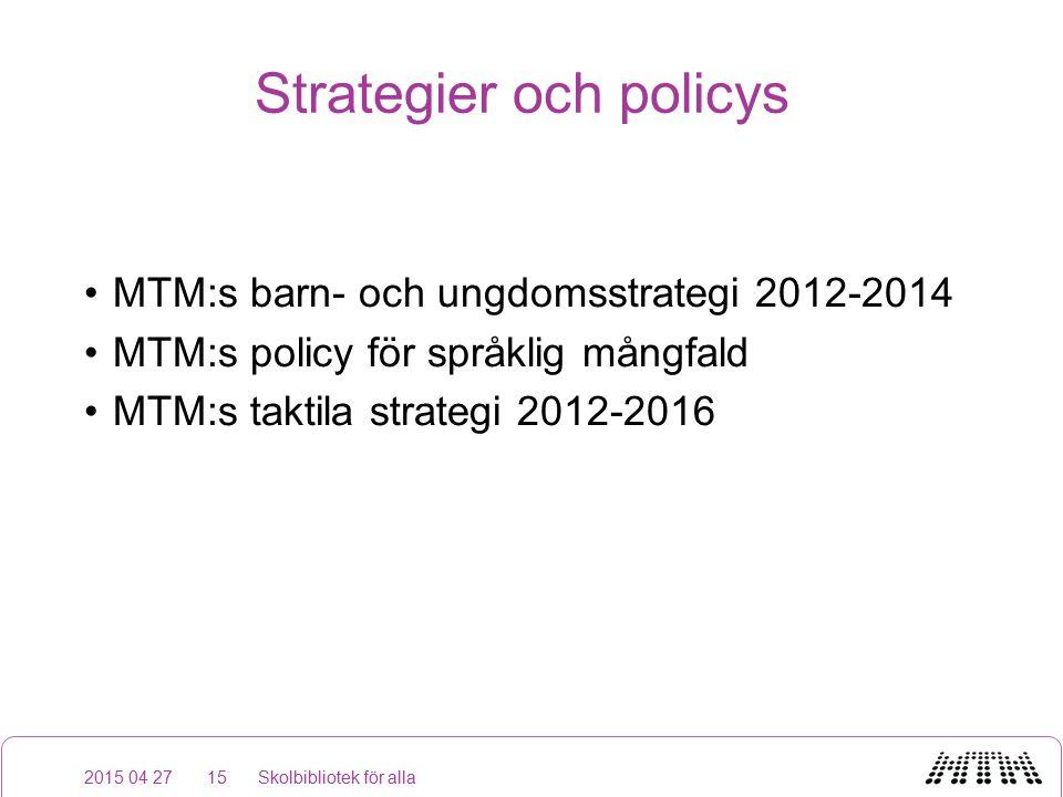 Strategier och policys MTM:s barn- och ungdomsstrategi 2012-2014 MTM:s policy för språklig mångfald MTM:s taktila strategi 2012-2016 2015 04 27Skolbibliotek för alla15