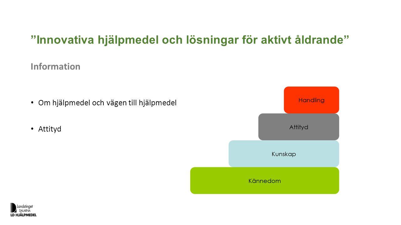 """""""Innovativa hjälpmedel och lösningar för aktivt åldrande"""" Information Om hjälpmedel och vägen till hjälpmedel Attityd"""