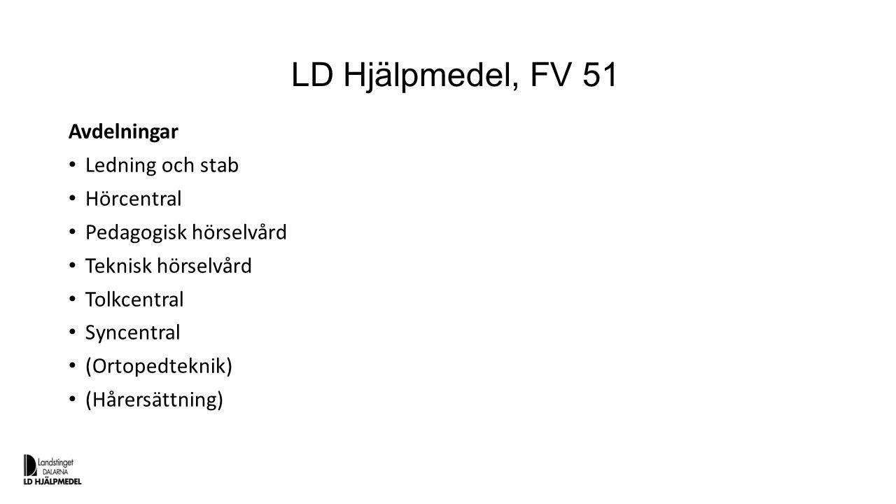 LD Hjälpmedel, FV 51 Avdelningar Ledning och stab Hörcentral Pedagogisk hörselvård Teknisk hörselvård Tolkcentral Syncentral (Ortopedteknik) (Hårersät