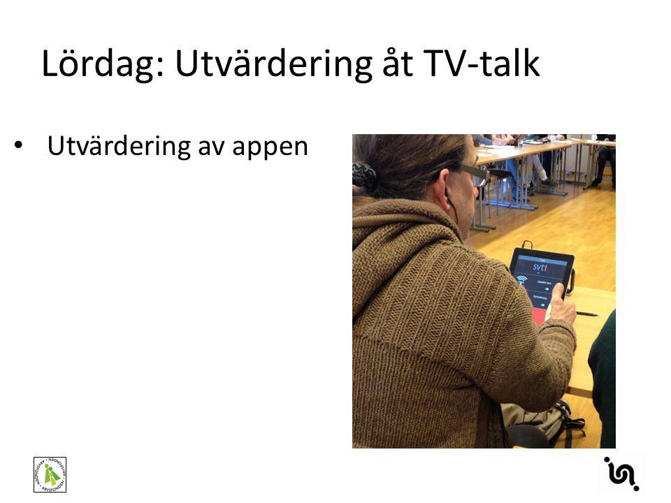 Lördag: Utvärdering åt TV-talk Utvärdering av appen