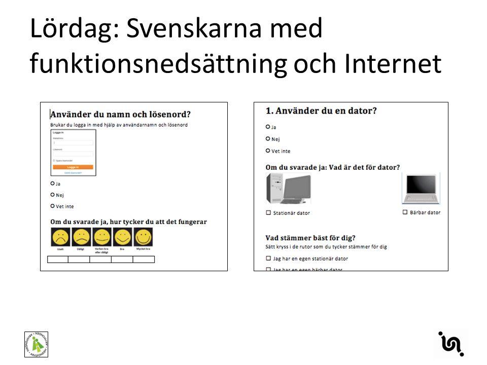 Lördag: Svenskarna med funktionsnedsättning och Internet