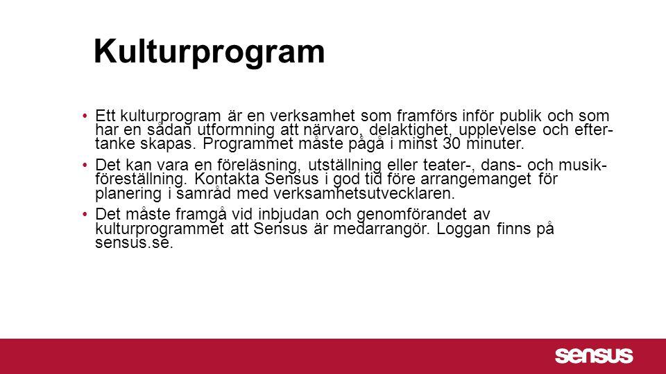 Kulturprogram Ett kulturprogram är en verksamhet som framförs inför publik och som har en sådan utformning att närvaro, delaktighet, upplevelse och ef