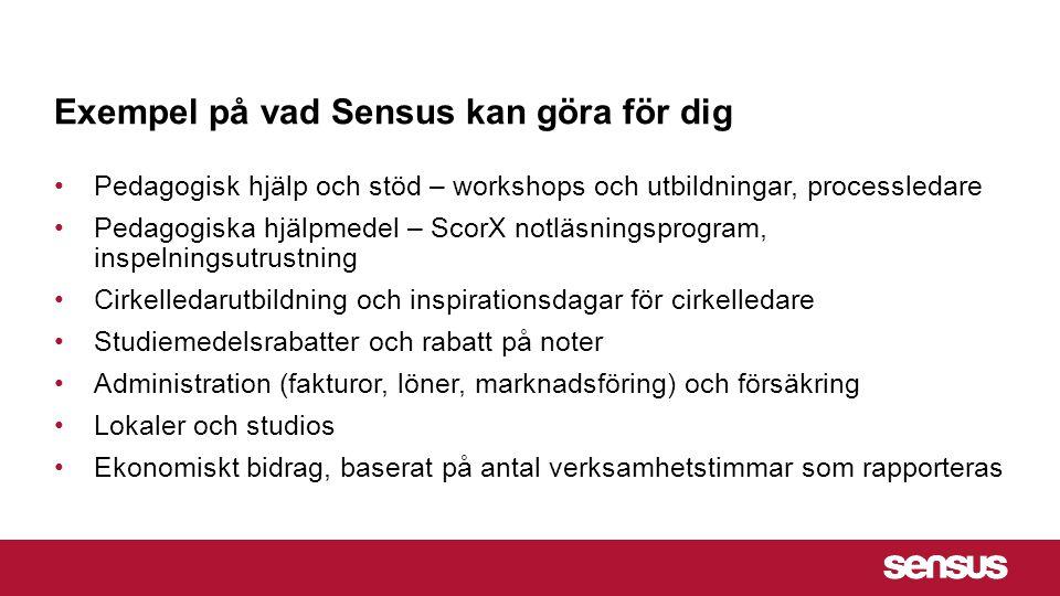 Exempel på vad Sensus kan göra för dig Pedagogisk hjälp och stöd – workshops och utbildningar, processledare Pedagogiska hjälpmedel – ScorX notläsning