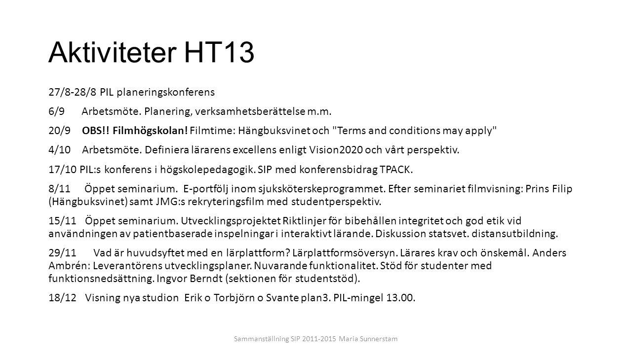 Aktiviteter HT13 27/8-28/8 PIL planeringskonferens 6/9 Arbetsmöte. Planering, verksamhetsberättelse m.m. 20/9 OBS!! Filmhögskolan! Filmtime: Hängbuksv