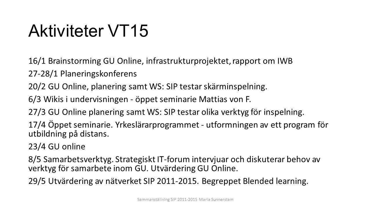 Aktiviteter VT15 16/1 Brainstorming GU Online, infrastrukturprojektet, rapport om IWB 27-28/1 Planeringskonferens 20/2 GU Online, planering samt WS: S
