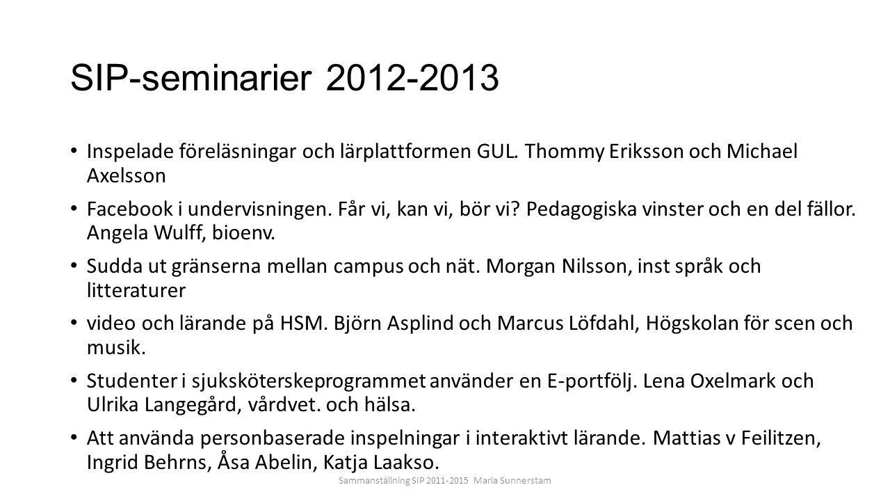 SIP-seminarier 2012-2013 Inspelade föreläsningar och lärplattformen GUL. Thommy Eriksson och Michael Axelsson Facebook i undervisningen. Får vi, kan v