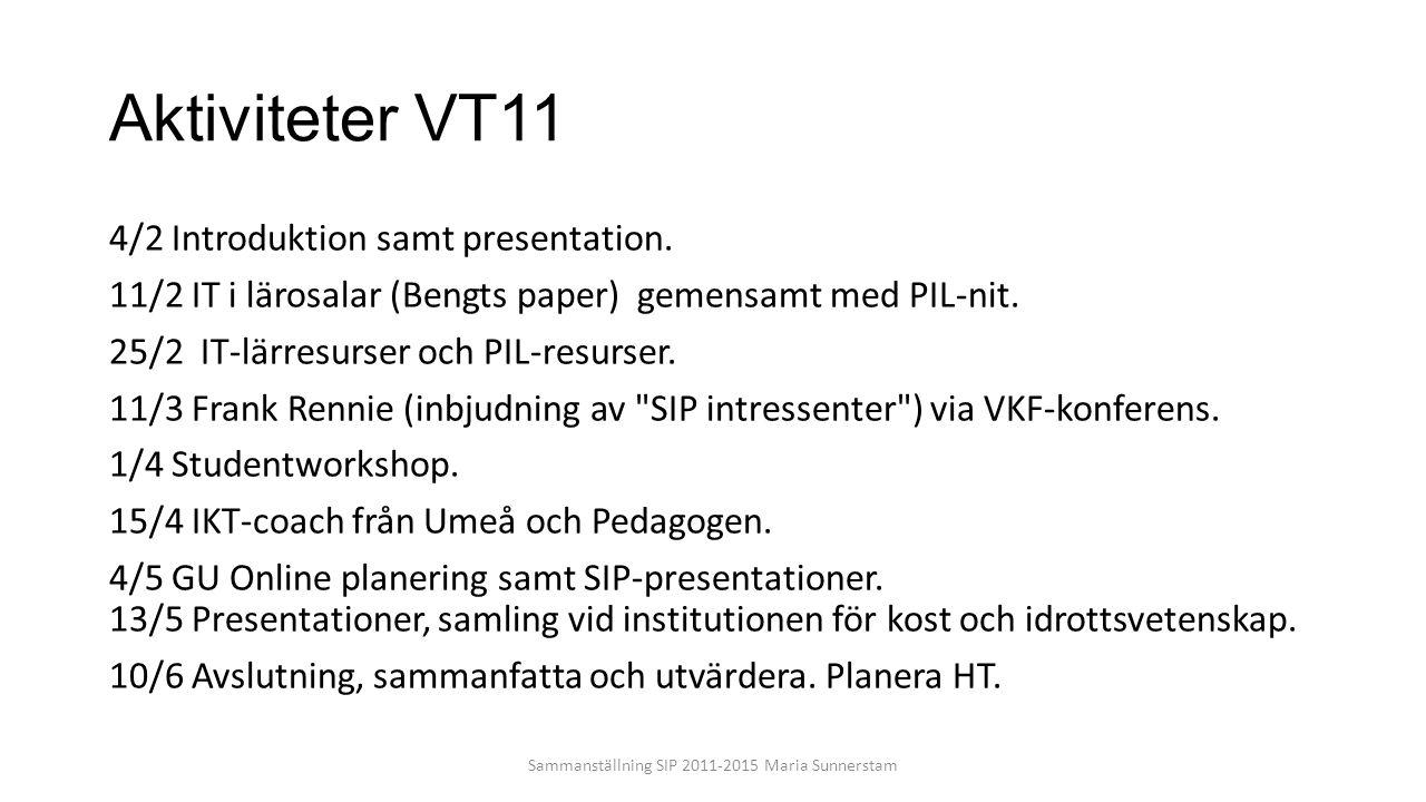 Aktiviteter VT11 4/2 Introduktion samt presentation. 11/2 IT i lärosalar (Bengts paper) gemensamt med PIL-nit. 25/2 IT-lärresurser och PIL-resurser. 1