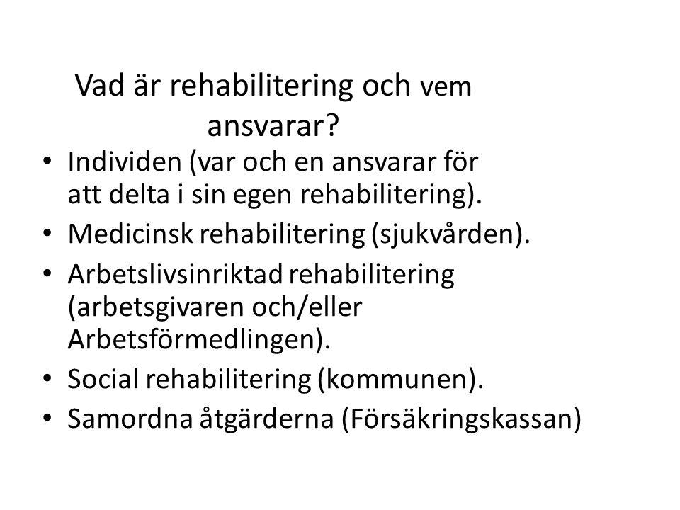 Vad är rehabilitering och vem ansvarar? Individen (var och en ansvarar för att delta i sin egen rehabilitering). Medicinsk rehabilitering (sjukvården)