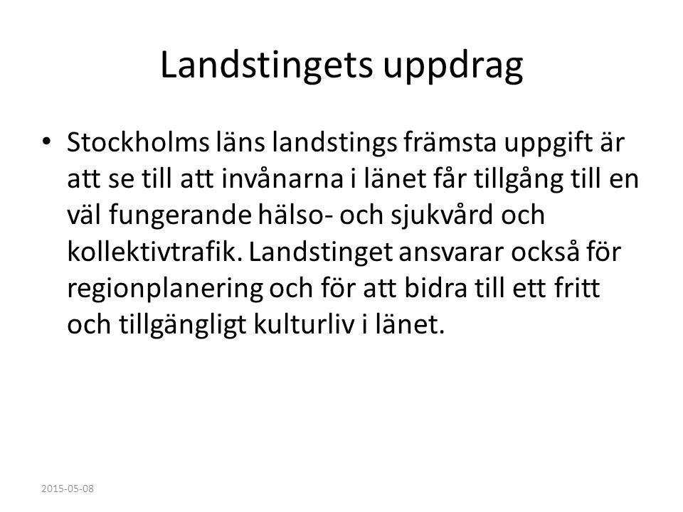 Landstingets uppdrag Stockholms läns landstings främsta uppgift är att se till att invånarna i länet får tillgång till en väl fungerande hälso- och sj