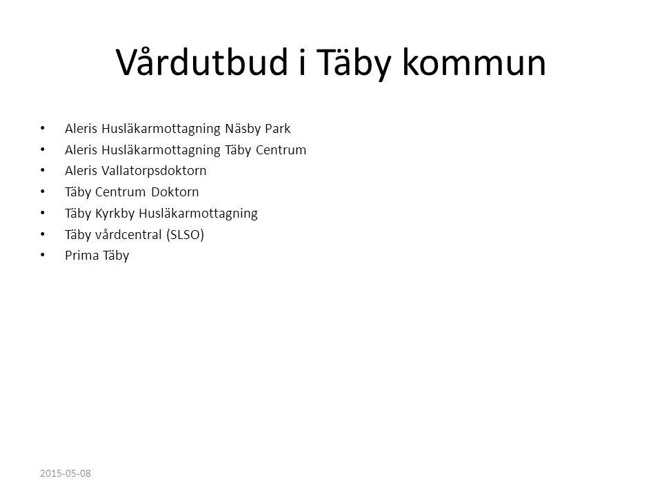 Vårdutbud i Täby kommun Aleris Husläkarmottagning Näsby Park Aleris Husläkarmottagning Täby Centrum Aleris Vallatorpsdoktorn Täby Centrum Doktorn Täby