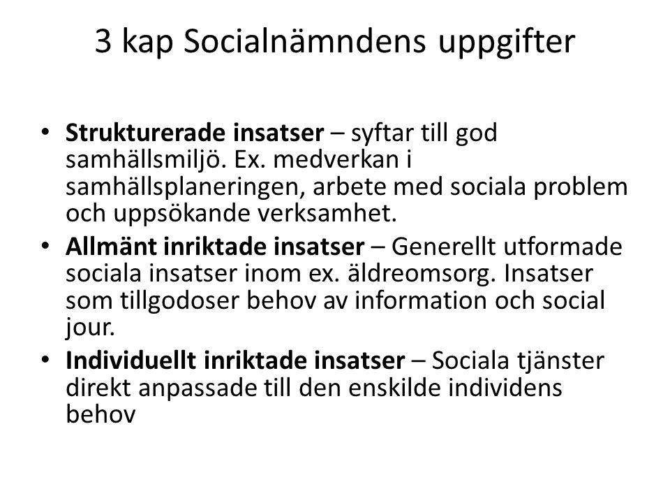 3 kap Socialnämndens uppgifter Strukturerade insatser – syftar till god samhällsmiljö. Ex. medverkan i samhällsplaneringen, arbete med sociala problem