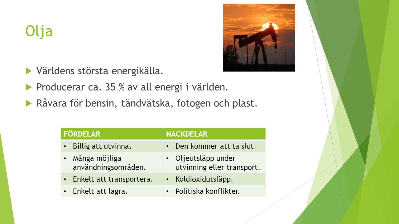 Olja  Världens största energikälla.  Producerar ca. 35 % av all energi i världen.  Råvara för bensin, tändvätska, fotogen och plast. FÖRDELARNACKDE