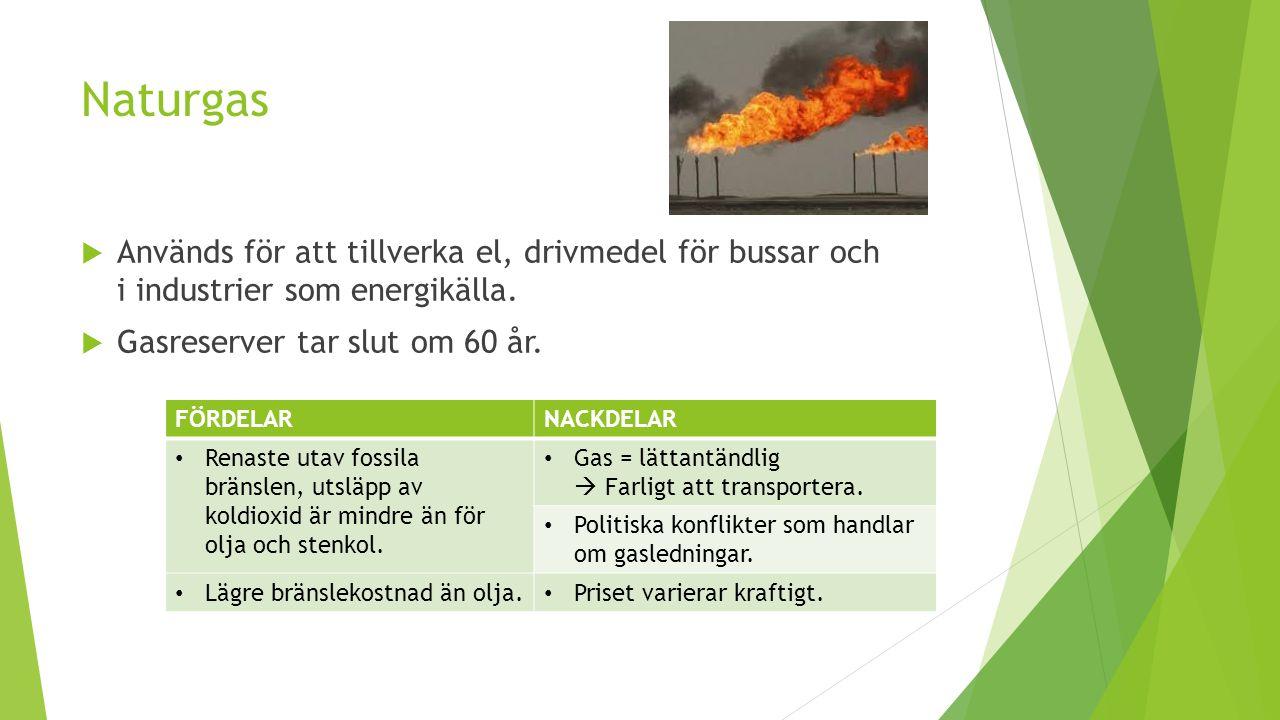 Naturgas  Används för att tillverka el, drivmedel för bussar och i industrier som energikälla.  Gasreserver tar slut om 60 år. FÖRDELARNACKDELAR Ren