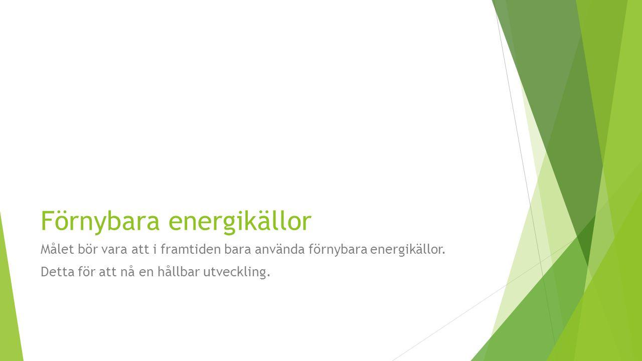 Förnybara energikällor Målet bör vara att i framtiden bara använda förnybara energikällor. Detta för att nå en hållbar utveckling.