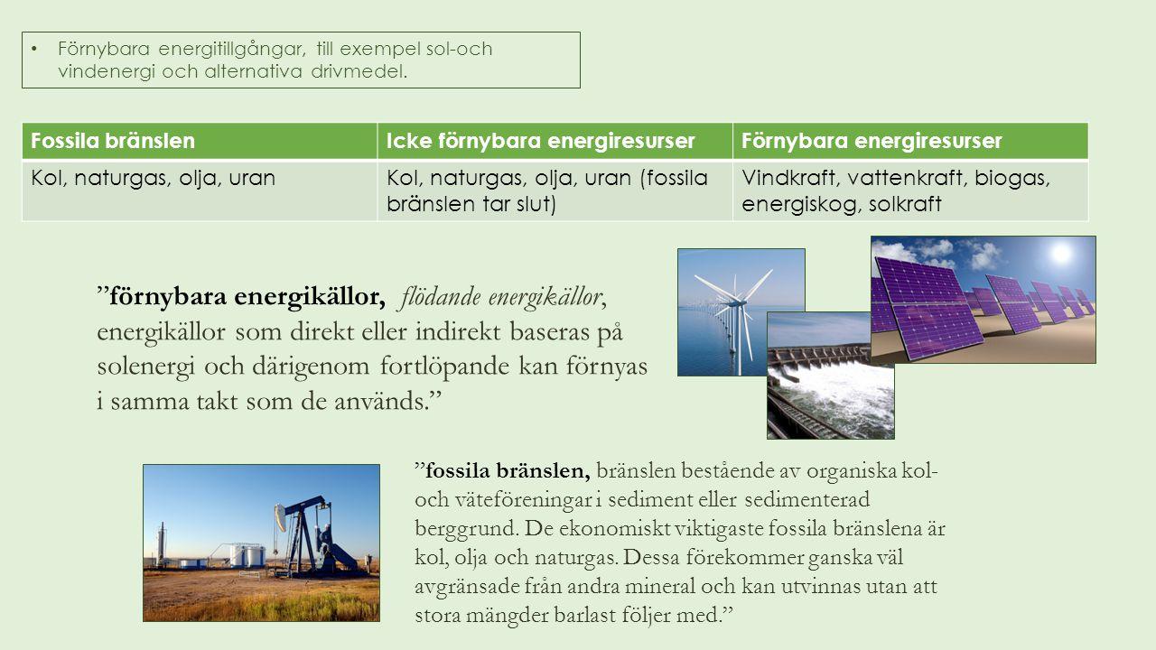 Förnybara energitillgångar, till exempel sol-och vindenergi och alternativa drivmedel. Fossila bränslenIcke förnybara energiresurserFörnybara energire
