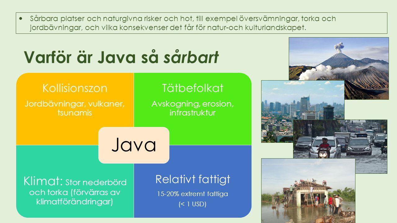 Varför är Java så sårbart  Sårbara platser och naturgivna risker och hot, till exempel översvämningar, torka och jordbävningar, och vilka konsekvense