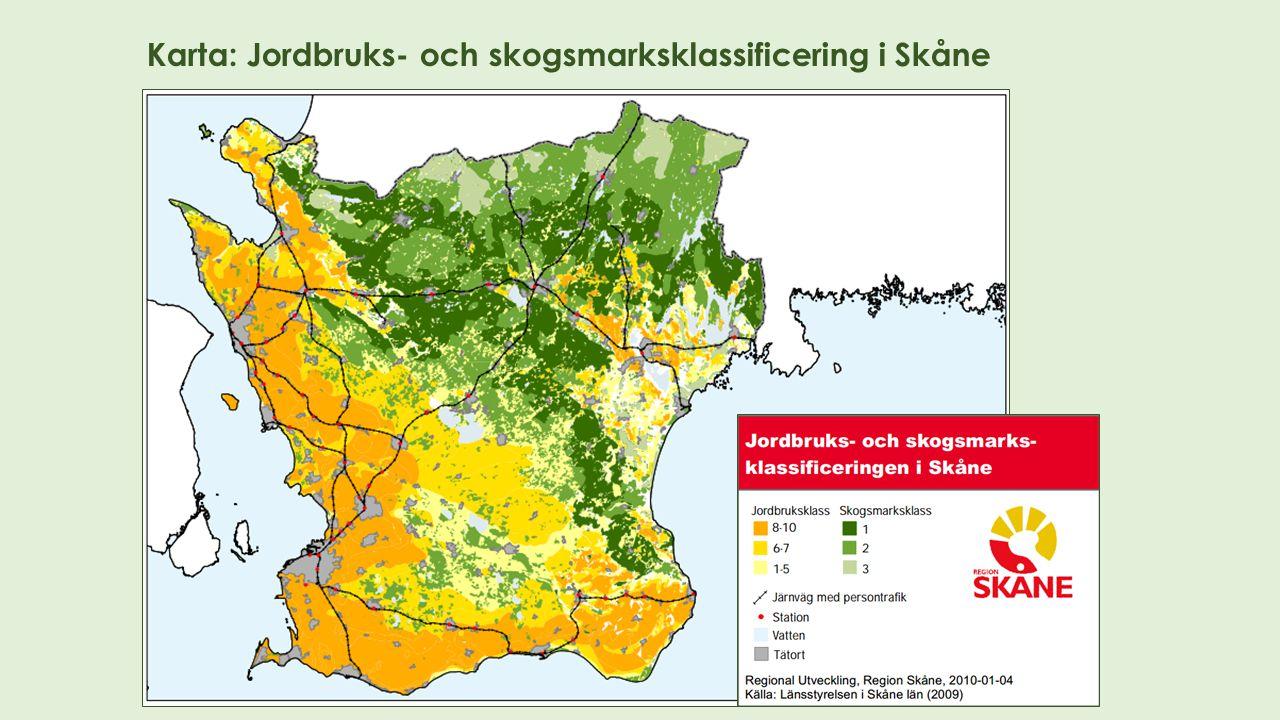 Karta: Jordbruks- och skogsmarksklassificering i Skåne