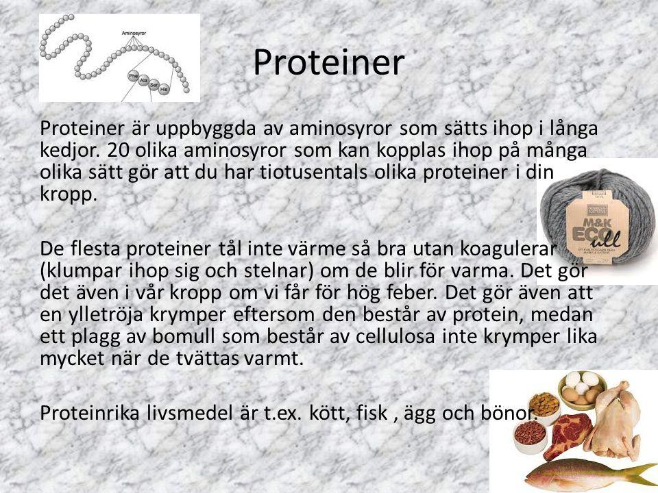 Proteiner Proteiner är uppbyggda av aminosyror som sätts ihop i långa kedjor. 20 olika aminosyror som kan kopplas ihop på många olika sätt gör att du