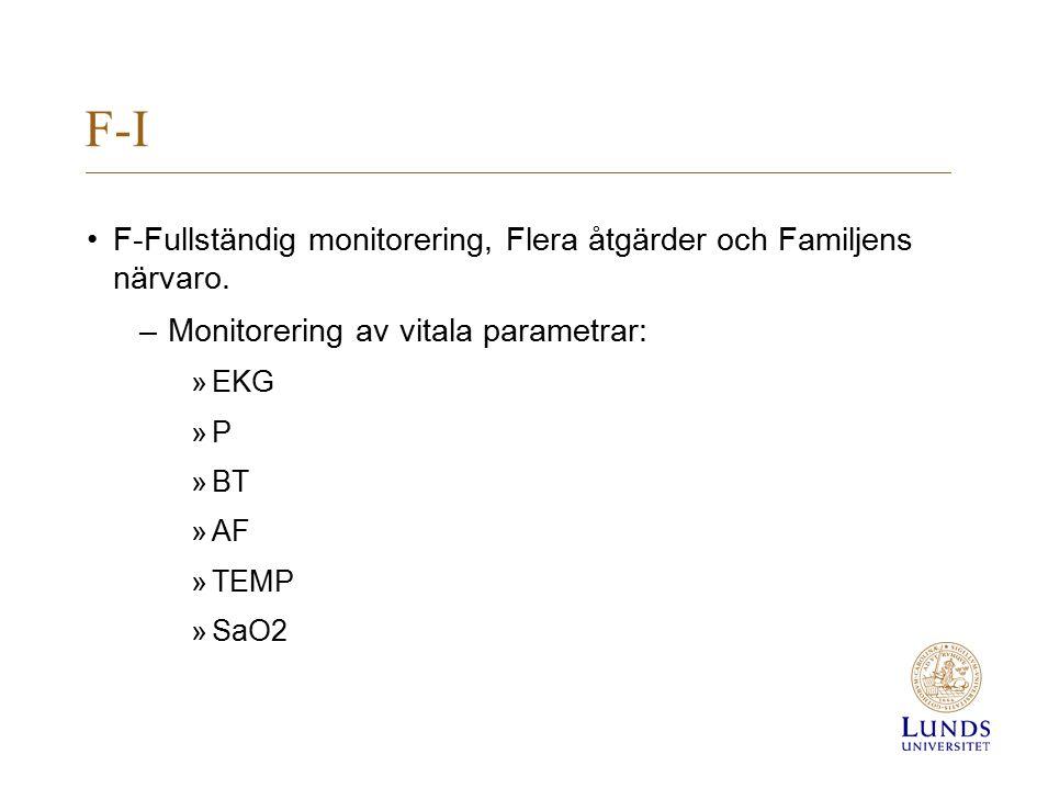 F-I F-Fullständig monitorering, Flera åtgärder och Familjens närvaro. –Monitorering av vitala parametrar: »EKG »P »BT »AF »TEMP »SaO2