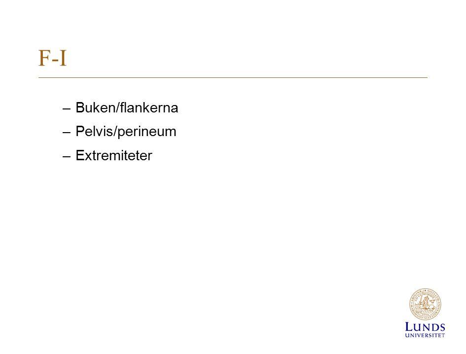 F-I –Buken/flankerna –Pelvis/perineum –Extremiteter