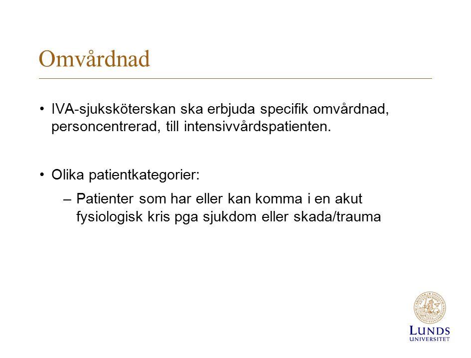 Omvårdnad IVA-sjuksköterskan ska erbjuda specifik omvårdnad, personcentrerad, till intensivvårdspatienten. Olika patientkategorier: –Patienter som har
