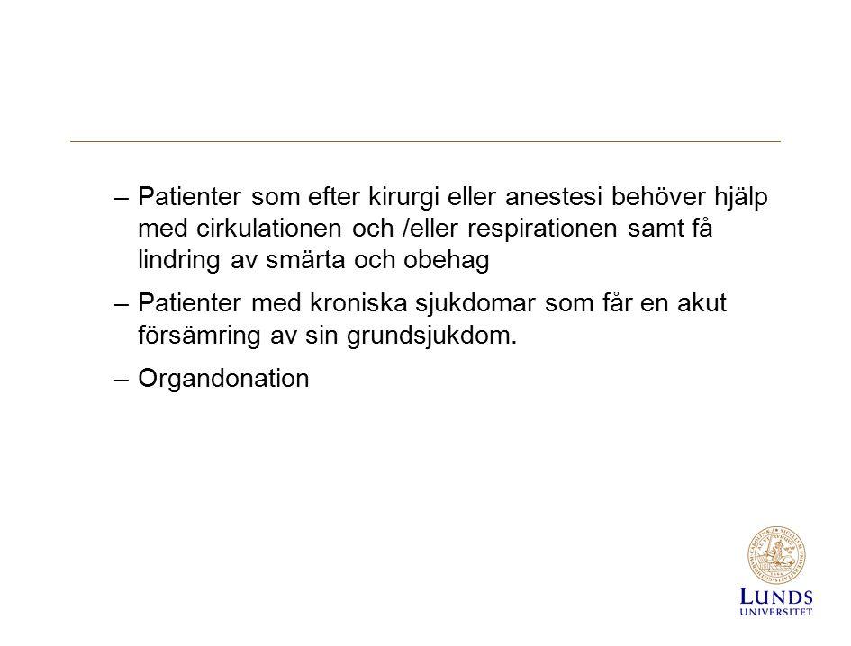 –Patienter som efter kirurgi eller anestesi behöver hjälp med cirkulationen och /eller respirationen samt få lindring av smärta och obehag –Patienter